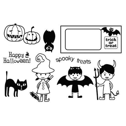 Unity Stamp - My Little Shoebox Collection - Unmounted Rubber Stamp - A Little Trick or Treat