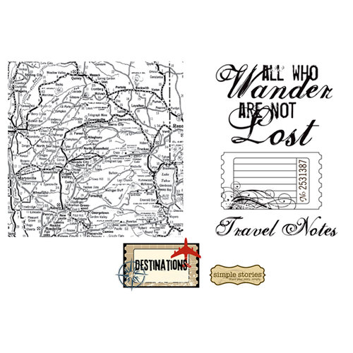 Unity Stamp - Simple Stories Collection - Unmounted Rubber Stamp - Travel Notes