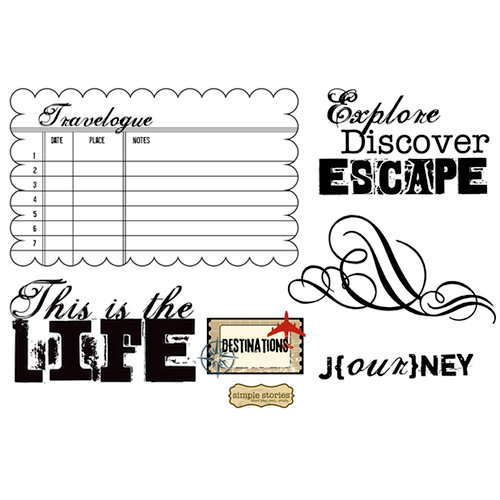 Unity Stamp - Simple Stories Collection - Unmounted Rubber Stamp - Explore. Discover. Escape