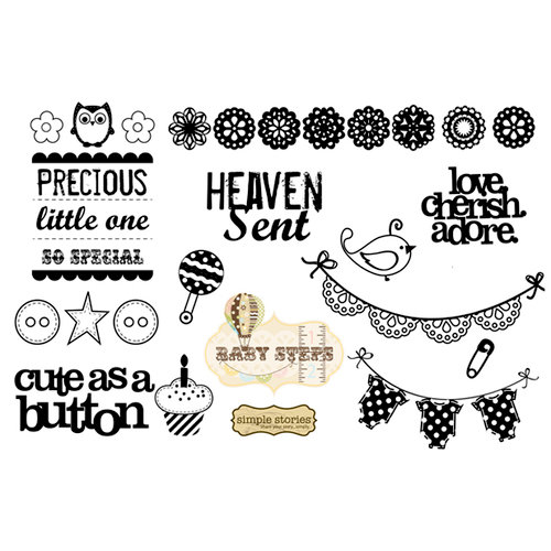 Unity Stamp - Simple Stories Collection - Unmounted Rubber Stamp - Precious Little One