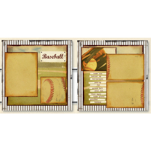 Uniformed Scrapbooks of America - 12 x 12 Page Kit - Vintage Baseball