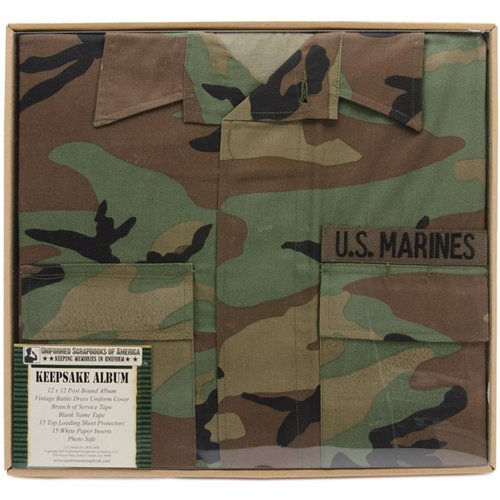 Uniformed Scrapbooks of America - 12 x 12 Postbound Album - Military Uniform Cover - Marines - Battle Dress