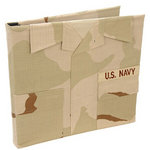 Uniformed Scrapbooks of America - 12 x 12 Postbound Album - Military Uniform Cover - Navy - Desert Combat