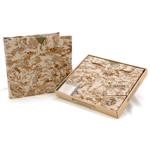 Uniformed Scrapbooks of America - 12 x 12 Postbound Album - Military Uniform Cover - U.S. Marine Corps - Desert