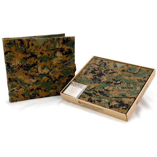 Uniformed Scrapbooks of America - 12 x 12 Postbound Album - Military Uniform Cover - U.S. Marine Corps - Woodland