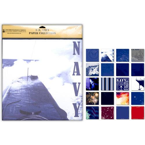 Uniformed Scrapbooks of America - 12 x 12 Paper Pack - U.S. Navy