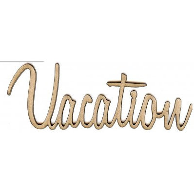 Unique Pages - Chipboard Words - Vacation, CLEARANCE