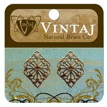 Vintaj Metal Brass Company - Metal Embellishments - Diamond Filigree