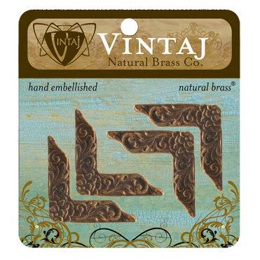 Vintaj Metal Brass Company - Metal Embellishments - Corners - Floral