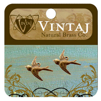 Vintaj Metal Brass Company - Metal Jewelry Charms - Flying Bird