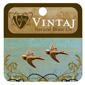 Vintaj Metal Brass Company - Metal Jewelry Charms - Flying Bird