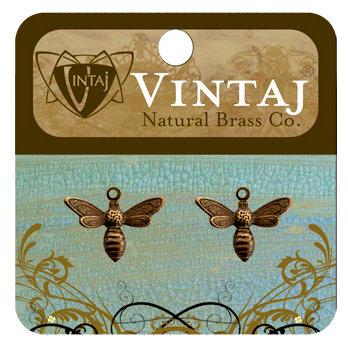 Vintaj Metal Brass Company - Metal Jewelry Charms - Busy Bee