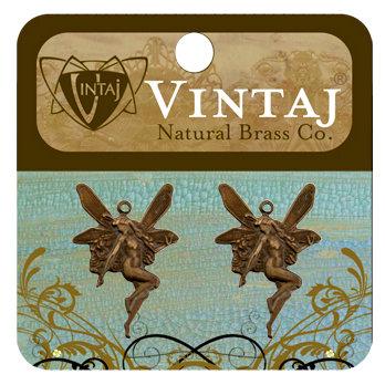 Vintaj Metal Brass Company - Metal Jewelry Charms - Whimsical Fairy