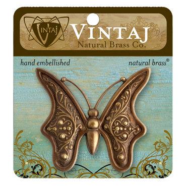 Vintaj Metal Brass Company - Metal Embellishments - Baroque Butterfly