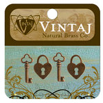 Vintaj Metal Brass Company - Metal Jewelry Charms - Hearts and Keys