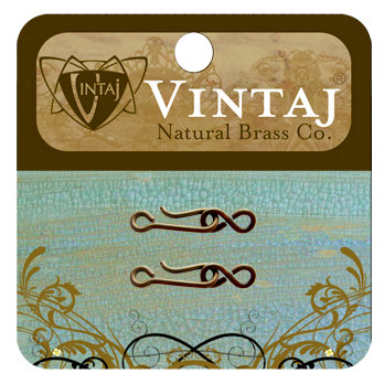 Vintaj Metal Brass Company - Metal Jewelry Hardware - Tiny Hook and Eye Clasp