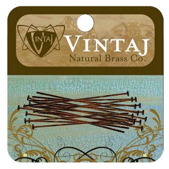 Vintaj Metal Brass Company - Metal Jewelry Hardware - Head Pin - Medium