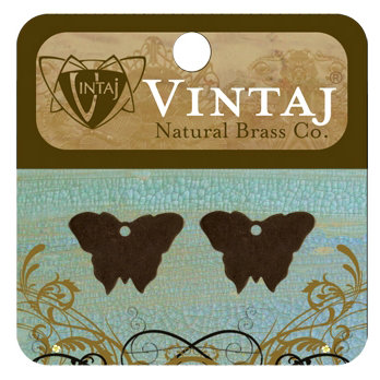 Vintaj Metal Brass Company - Sizzix - Metal Jewelry Charms - Bitsy Butterfly