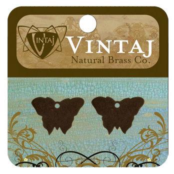 Vintaj Metal Brass Company - Sizzix - Metal Jewelry Charms - Bitsy Butterfly