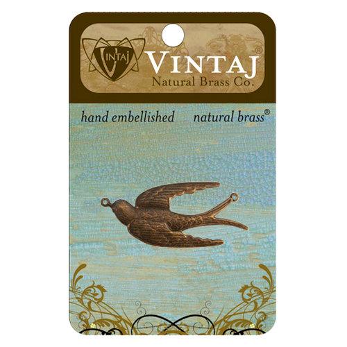 Vintaj Metal Brass Company - Metal Jewelry Charm - Soaring Sparrow
