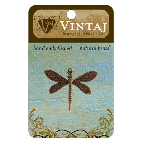 Vintaj Metal Brass Company - Metal Jewelry Charm - Queen Dragonfly