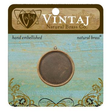 Vintaj Metal Brass Company - Metal Jewelry Charm - Circle Bezel