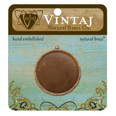 Vintaj Metal Brass Company - Metal Jewelry Charm - Bamboo Bezel