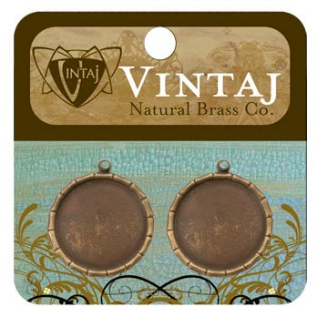 Vintaj Metal Brass Company - Metal Jewelry Charms - Bamboo Bezel