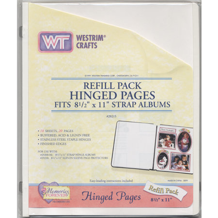 Westrim - Refill Pack - Hinged Pages - Fits 8.5 x 11 Strap Albums -White