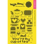 Waffle Flower Crafts - Clear Acrylic Stamps - Stitched Cup of Tea