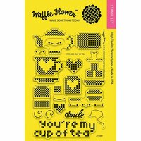 Waffle Flower Crafts - Clear Photopolymer Stamps - Stitched Cup of Tea