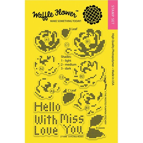 Waffle Flower Crafts - Clear Photopolymer Stamps - Stitched Roses