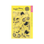 Waffle Flower Crafts - Clear Acrylic Stamps - Biking Girls