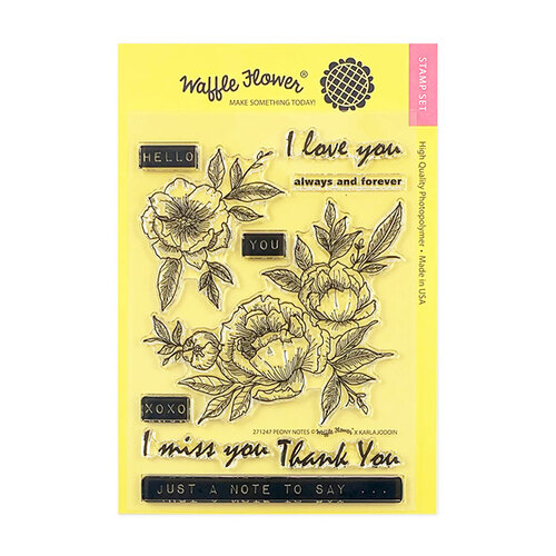 Waffle Flower Crafts - Clear Photopolymer Stamps - Peony Notes Stamp Set