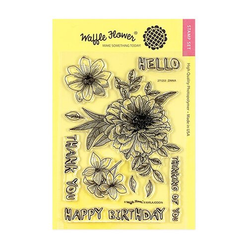 Waffle Flower Crafts - Clear Photopolymer Stamps - Zinnia