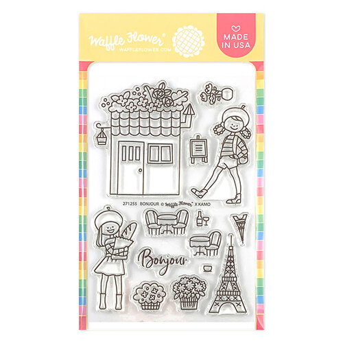 Waffle Flower Crafts - Clear Photopolymer Stamps - Bonjour