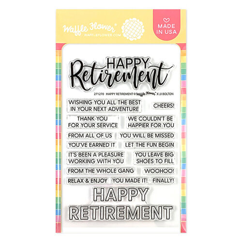 Waffle Flower Crafts - Clear Photopolymer Stamps - Happy Retirement