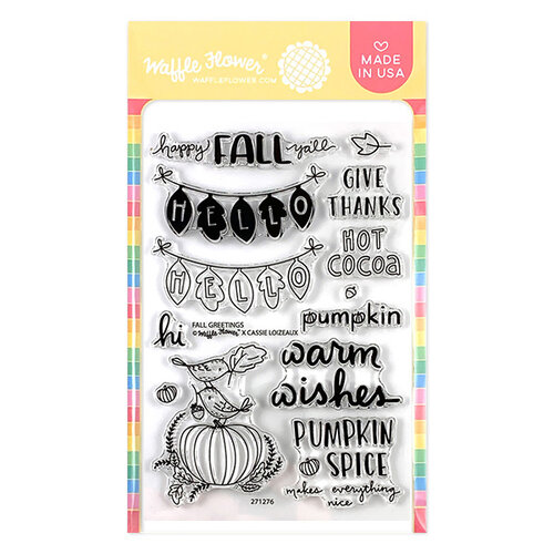 Waffle Flower Crafts - Clear Photopolymer Stamps - Fall Greetings Stamp Set