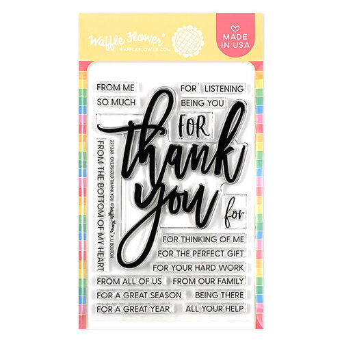 Waffle Flower Crafts - Clear Photopolymer Stamps - Oversized Thank You Stamp Set