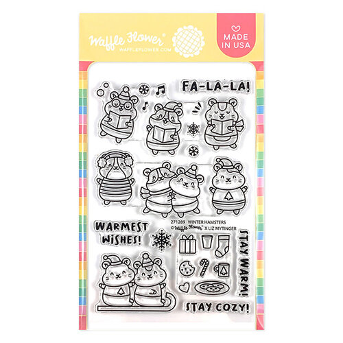 Waffle Flower Crafts - Clear Photopolymer Stamps - Winter Hamsters