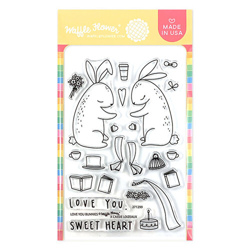Waffle Flower Crafts - Clear Photopolymer Stamps - Love You Bunnies