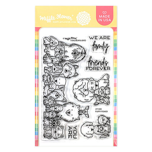 Waffle Flower Crafts - Clear Photopolymer Stamps - Puppy Power