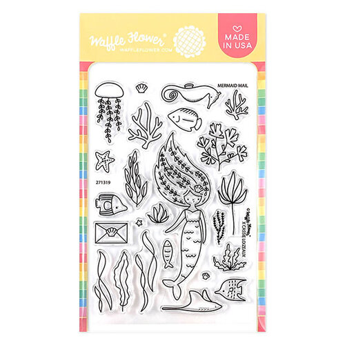 Waffle Flower Crafts - Clear Photopolymer Stamps - Mermaid Mail