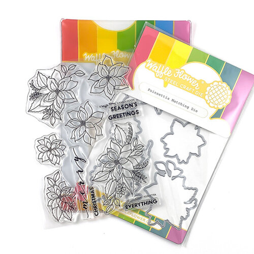 Waffle Flower Crafts - Craft Die and Clear Photopolymer Stamp Set - Poinsettia