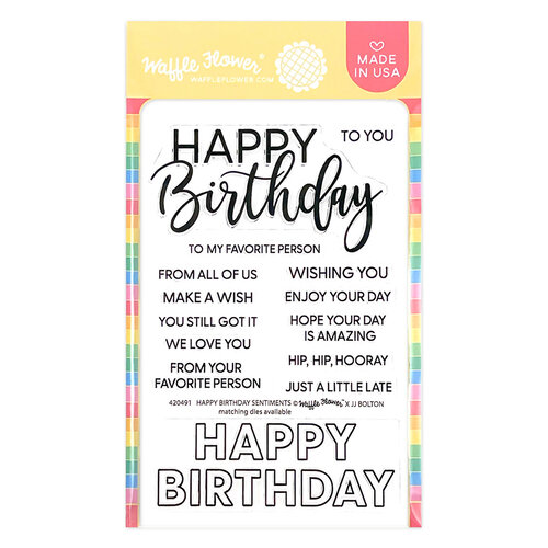 Waffle Flower Crafts - Hearts and Roses Collection - Clear Photopolymer Stamps - Happy Birthday Sentiments
