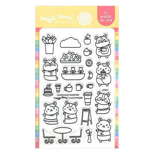 Waffle Flower Crafts - Clear Photopolymer Stamps - Coffee Shop Hamsters
