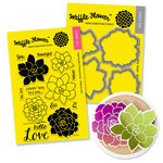 Waffle Flower Crafts - Craft Die and Acrylic Stamp Set - Succulents Bundle