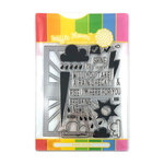 Waffle Flower Crafts - Craft Die and Acrylic Stamp Set - Rain or Shine