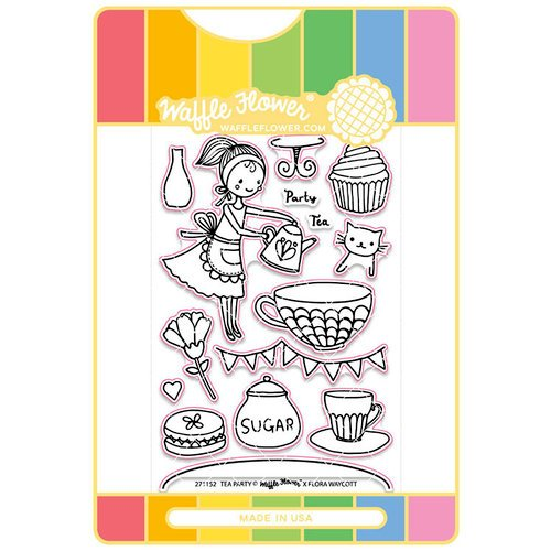 Waffle Flower Crafts - Craft Die and Acrylic Stamp Set - Tea Party
