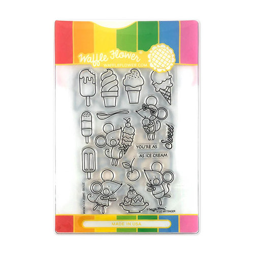 Waffle Flower Crafts - Craft Die and Acrylic Stamp Set - Sweet Ice Cream